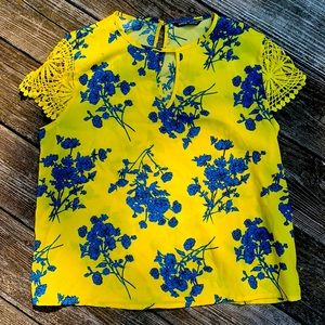 Yellow Floral Shein Blouse